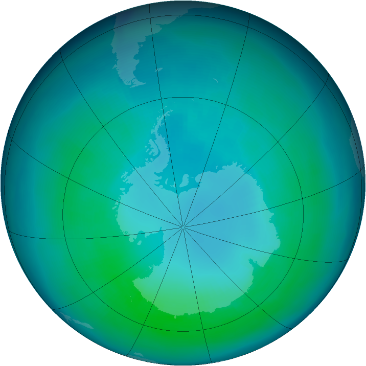 Antarctic ozone map for April 1999